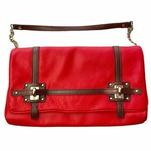 Kate Spade Red Leather Bag w/Brown Straps & Chain